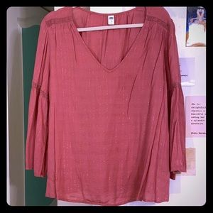 Old Navy Blouse with flowy sleeves and gold foil